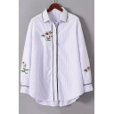 Fashion Floral Embroidered Striped Print Lapel Collar Long Sleeve Buttons Down Shirt
