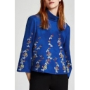 Chic Floral Embroidered Mock Neck 3/4 Sleeve Loose Leisure Pullover Blouse