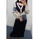 Color Block V Neck Long Sleeve Cardigan with Sleeveless Plain Midi Knit Dress