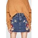 High Rise Chic Floral Bird Embroidered Mini A-Line Denim Skirt