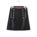High Rise Simple Plain Fashion Double Breasted Mini A-Line PU Skirt