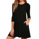 Round Neck 3/4 Sleeve Simple Plain Mini A-Line Dress with Pockets