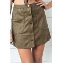 New Collection Basic Simple Plain Buttons Down Mini A-Line Skirt