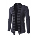 New Fashion Striped Pattern Open Front Long Sleeve Casual Coat
