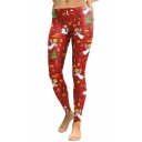 New Fashion Christmas Theme Pattern Elastic Waist Skinny Sports Leggings