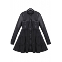 Stand-Up Collar Leather Panel Button Down Long Sleeve Coat in Loose Fit