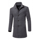 Basic Simple Plain Lapel Collar Long Sleeve Buttons Down Woolen Coat