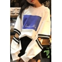 New Arrival Fashion Hollow Out Long Sleeve Letter Printed Pullover Sweatshirt