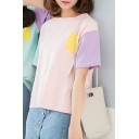 Summer's Chic Color Block Short Sleeve Round Neck Loose T-Shirt for Friends