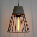 Vintage Nordic Pendant Light Concrete with Coolie Shade in Grey/Red
