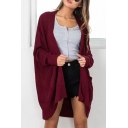 New Arrival Plain Open Front Long Sleeve Loose Cardigan with Pockets