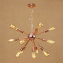 Industrial Vintage Chandelier 15 Light Open Bulb Style with Radial Fixture Arm in Copper