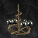 Industrial Vintage Chandelier Vortex Rope Fixture Arm with Glass Shade