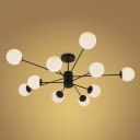 Industrial Vintage Chandelier Modern Style 10 Light with Opal Glass Shade