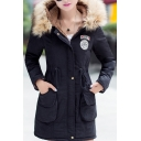 Winter's New Arrival Warm Fur Hooded Long Sleeve Zip Up Drawstring Waist Coat