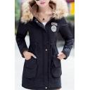 Winter's New Arrival Warm Fur Hooded Long Sleeve Zip Up Drawstring Waist Coat