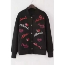 New Fashion Letter Red Lips Embroidered Long Sleeve Buttons Down Baseball Jacket