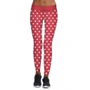 Hot Fashion Polka Dot Printed Elastic Waist Sports Skinny Leggings