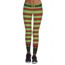 Hot Fashion Christmas Theme Striped Printed Skinny Yoga Leggings