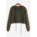Hot Fashion Basic Simple Plain Long Sleeve Cropped Hoodie with Pockets