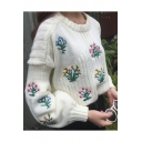 Lantern Long Sleeve Round Neck Chic Floral Embroidered Pullover Sweater