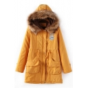 Letter Print Badge Fur Hooded Long Sleeve Winter's Warm Zip Up Padded Coat