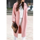 New Arrival Chic Simple Plain Notched Lapel Collar Long Sleeve Trench Coat