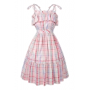 New Arrival Retro Color Block Plaids Pattern Spaghetti Straps Midi Flared Dress