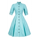 New Trendy Retro Elegant Short Sleeve Simple Plain Buttons Down Midi Flared Dress