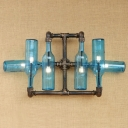 Industrial Wall Sconce for Hallway with Blue/Amber/Smoke Bottle Glass Shade, Pipe Fixture Arm