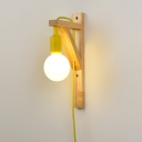 Vintage Wall Sconce with Wood Arm in Wood Finish