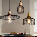 Industrial Ceiling Light with Hat Shape Shade in Black