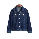 Basic Simple Plain Lapel Collar Long Sleeve BF Style Buttons Down Denim Jacket