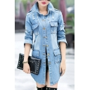 Fashion Ripped Out Simple Plain Long Sleeve Lapel Collar Buttons Down Denim Coat