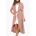Fashion Waterfall Collar Basic Simple Plain Long Sleeve Tunic Comfort Trench Coat