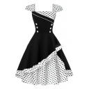 New Fashion Vintage Square Neck Cap Sleeve Color Block Polka Dot Print Flared Dress