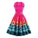 New Arrival Fashion Printed Hot Popular Collared Sleeveless Midi Flared Dress
