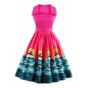New Arrival Fashion Printed Hot Popular Collared Sleeveless Midi Flared Dress