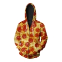 Fashion Digital Pizza Pattern Oversize Loose Long Sleeve Unisex Zip Up Hoodie