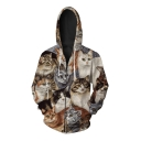 Fashion Digital Family Of Cats Printed Long Sleeve Casual Leisure Zip Up Hoodie