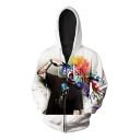 New Arrival 3D Clown Pattern Long Sleeve Casual Oversize Zip Up Hoodie