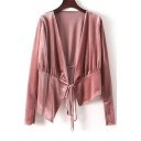 Simple Plain Fashion Velvet Long Sleeve Asymmetrical Hem Tied Coat