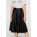 New Arrival High Waist Simple Plain Buttons Down Midi A-Line PU Skirt