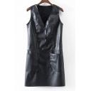 V Neck Sleeveless Simple Plain Mini PU Shift Dress with Double Pockets