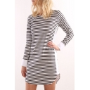 Hot Popular Classic Striped Printed Round Neck Long Sleeve Mini T-Shirt Dress