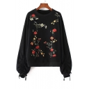 Round Neck Long Sleeve Chic Floral Embroidered Loose Sports Sweatshirt
