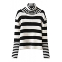 Color Block High Neck Drop Shoulder Long Sleeve Sweater