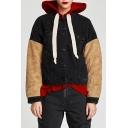 Lapel Color Block Faux Fur Panel Long Sleeve Jacket