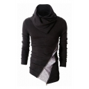 New Collection High Neck Long Sleeve Color Block Zip Embellished Sweatshirt