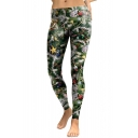 Hot Fashion Christmas Trees Pattern Elastic Waist Sports Skinny Leggings